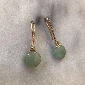 14K Gold Jade & Peridot earrings
